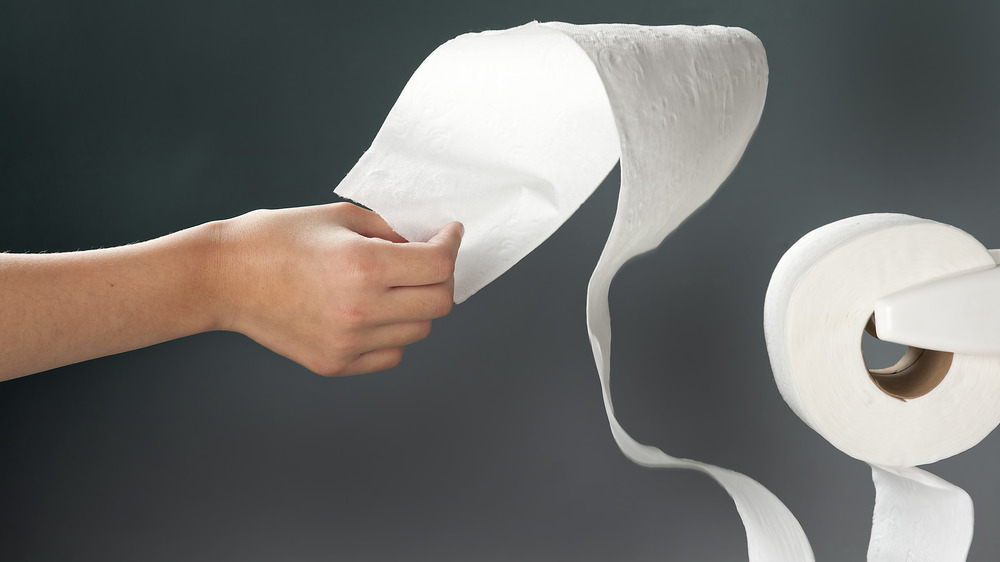hand pulling on roll of toilet paper