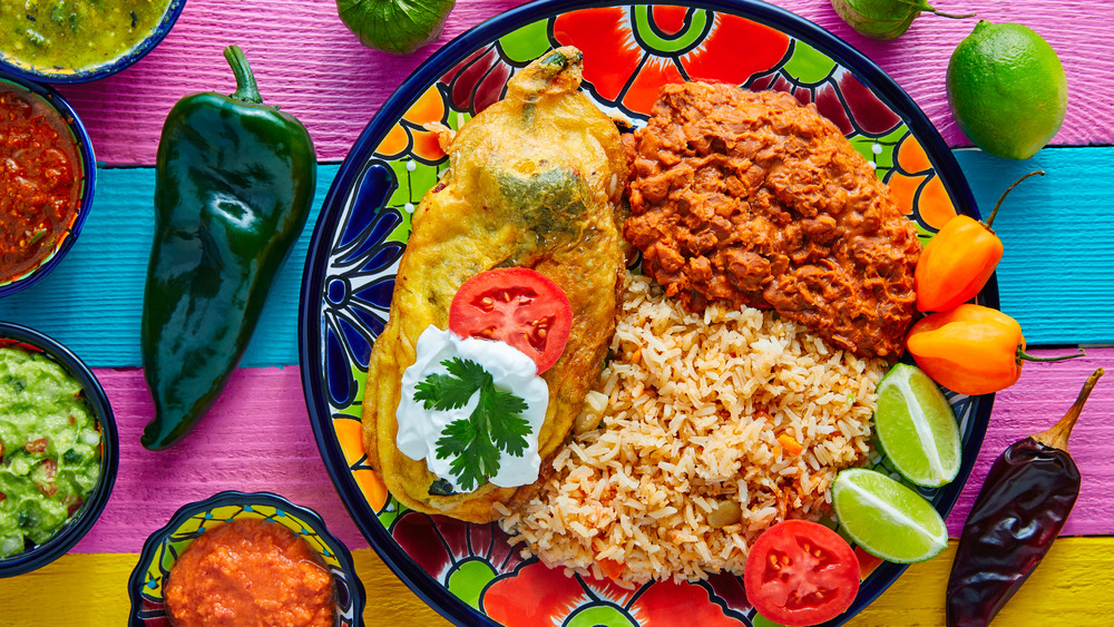 chile rellenos with rice and beans