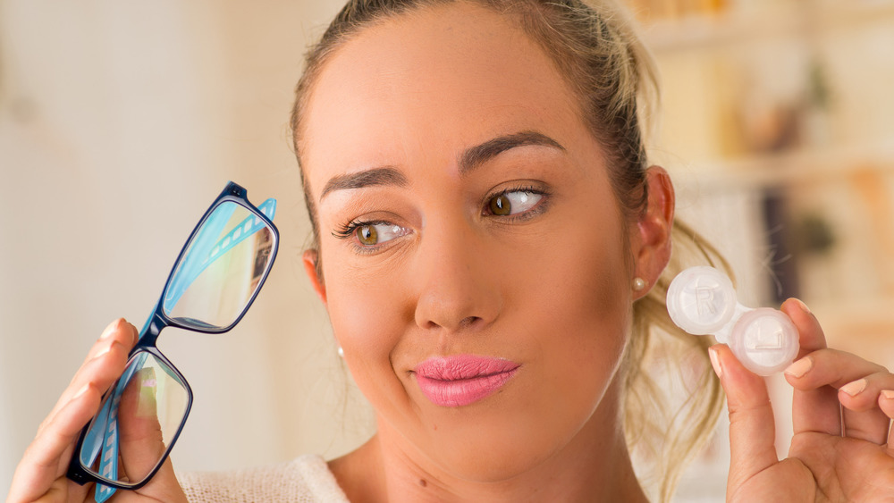 Woman with nearsightedness from spending too much time inside